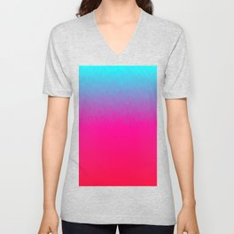Blue purple and pink ombre flames Unisex V-Neck