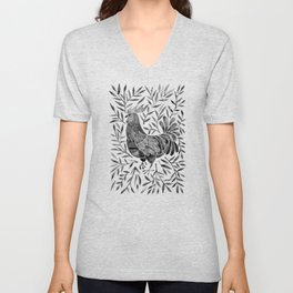 Le Coq – Watercolor Rooster with Black Leaves Unisex V-Neck