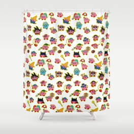 Kirby is swallowing everyone in here. Shower Curtain