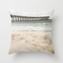 Sand at the pier - Panama City Beach Throw Pillow