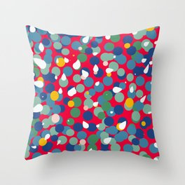 Dots and Bubbles Abstract Pattern on red Throw Pillow