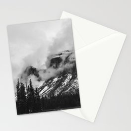 Smokey Mountains Maligne Lake Landscape Photography Black and White by Magda Opoka Stationery Cards