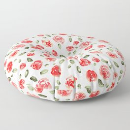Red Roses Watercolor // Hand Painted Watercolor Floral // Rose Red and Leaf Green Floor Pillow