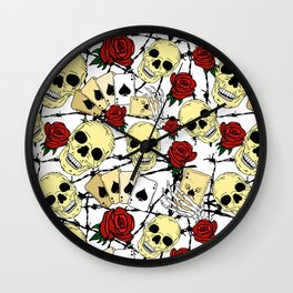 Skulls Red Roses and Barbed Wire Print Wall Clock