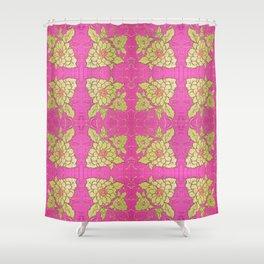 Retro Vintage Kitsch Kitchen 70's Floral Pink Shower Curtain