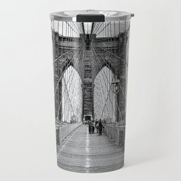 Brooklyn Bridge, New York City (rustic black & white) Travel Mug