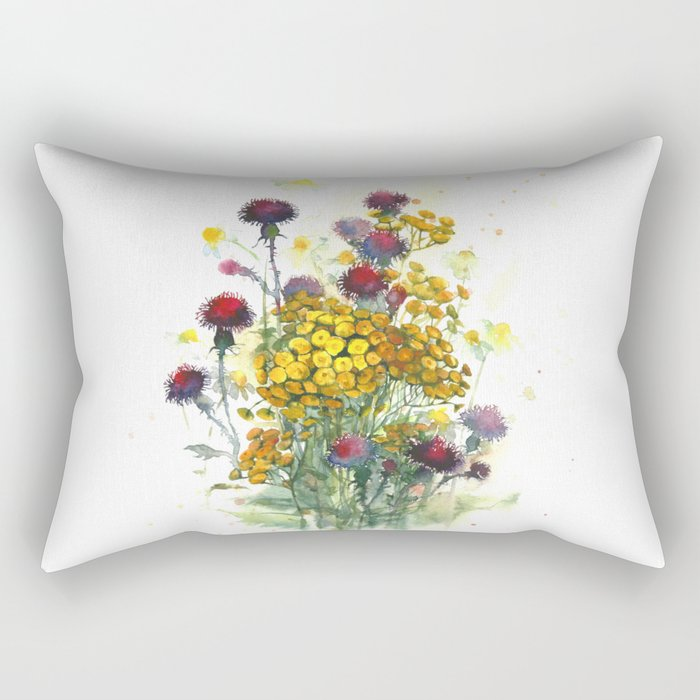 Watercolor wildflowers, aquarelle Rectangular Pillow