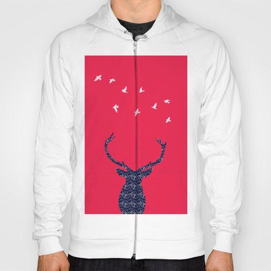 cerf bleu et rouge Hoody