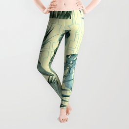 Simply Island Mod Palm Leaves on Pale Yellow Leggings