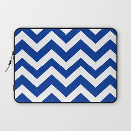 Smalt (Dark powder blue) - blue color - Zigzag Chevron Pattern Laptop Sleeve