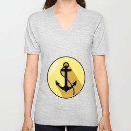 Anchor yellow elliptical arms Unisex V-Neck