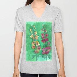 Hollyhock Foxglove Watercolor Honey & Berry on Green Unisex V-Neck