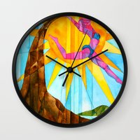 brand new Wall Clocks featuring Brand New Day by Heather Torres Art