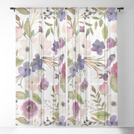 Violet pink yellow green watercolor modern floral pattern Sheer Curtain