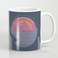 the mountains are calling Mugs featuring The Mountains are Calling by Rick Crane