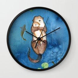 Cuddling Otters Wall Clock