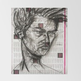 Warrior - Charcoal on Newspaper Figure Drawing Throw Blanket