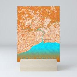 Santo Domingo, Dominican Republic, Gold, Blue, City, Map Mini Art Print