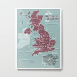 The Great British Television Map Metal Print