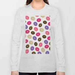 Modern cute pastel hand drawn donuts pattern food illustration Long Sleeve T-shirt