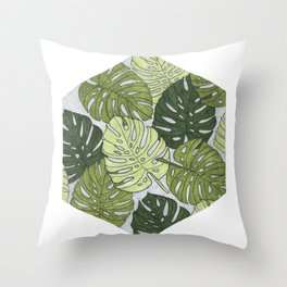 Monstera Hexagon Pattern Throw Pillow