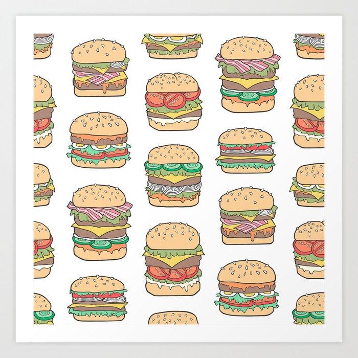 Hamburgers Junk Food Fast food on White Kunstdrucke