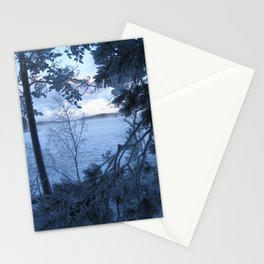 Frosty lake view Stationery Cards