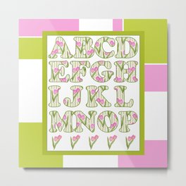 Children's alphabet . A colorful pattern for children .  № 1 Metal Print