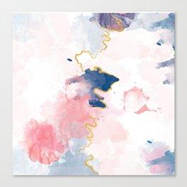 Kintsugi Pastel Marble #kintsugi #gold #japan #marble #pink #blue #home #decor #kirovair Canvas Print