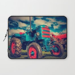 Cool Blue Red Vintage Tractor Laptop Sleeve