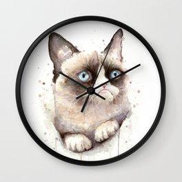 Grumpy Watercolor Cat Animals Meme Geek Art Wall Clock