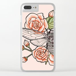 Cicada with Roses - Pink Clear iPhone Case