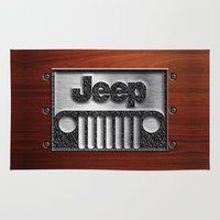 jeep Area & Throw Rugs featuring Embossed Steel Jeep logo with wood background iPhone 4 4s 5 5c 6, pillow case, mugs and tshirt by Three Second