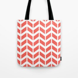 Coral orange and white chevron pattern Tote Bag