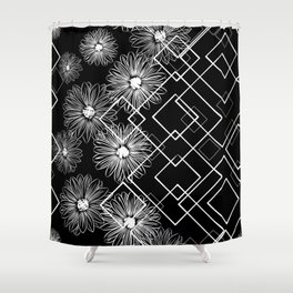 Flowers in squares Shower Curtain
