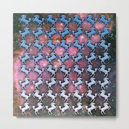 Cosmic Horse Pattern Metal Print