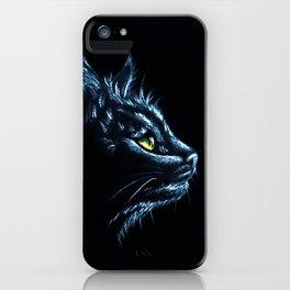 Black Cat Portrait White Charcoal Art iPhone Case