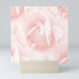 Floral coral - Romantic illusion of roses in seamless stripes Mini Art Print