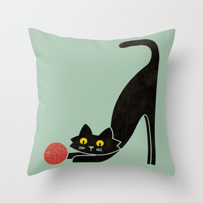 Fitz - the curious cat Throw Pillow