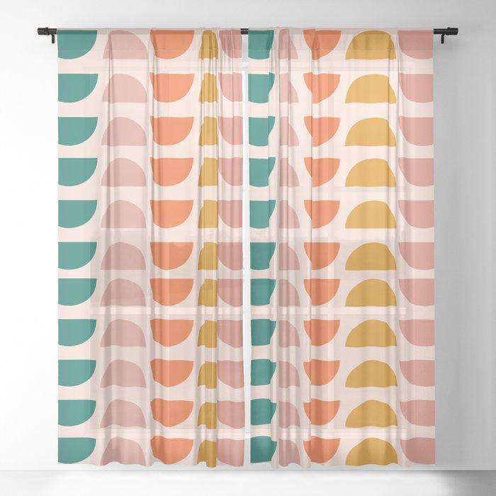 Retro 70s Geometrics Sheer Curtain By Junejournal