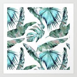 Tropical Palm Leaves Blue Green on White Art Print