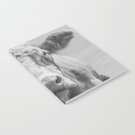 Animal Photography   Highland Cow Portrait Black and White   Farm Animals Notebook