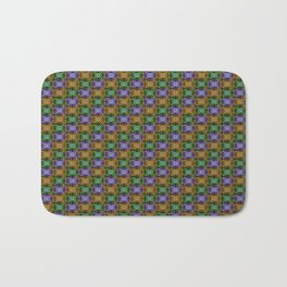K115 Purple, Gold and Green Stamp Pattern Design Bath Mat