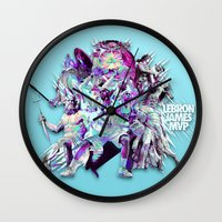 lebron Wall Clocks featuring LEBRON MVP 2013 by mergedvisible