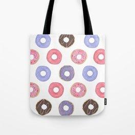 Watercolor Donut Pattern Tote Bag
