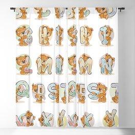 Alphabet of cheerful teddy bears Blackout Curtain
