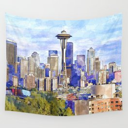 Seattle View in watercolor Wall Tapestry