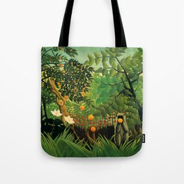 "Henri Rousseau ""Monkeys in the jungle - Exotic landscape"" Tote Bag"