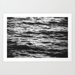 Marble Waters Black and White Art Print
