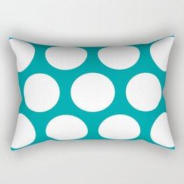 Large Polka Dots: Teal Rectangular Pillow